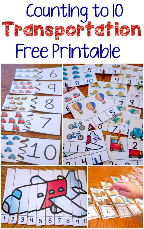 transportation themed activities for preschoolers free transportation theme printable for counting to 10 210