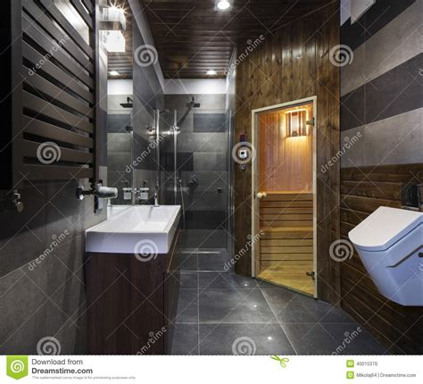 salle de bains avec le sauna photo stock image 40015370