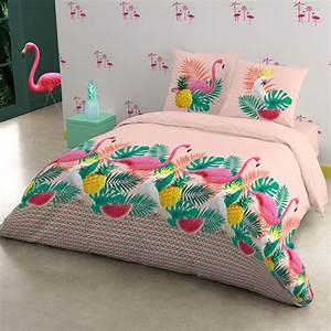 Parure lit flamingo polycoton flamingos pinterest for Stickers chambre enfant avec housse de couette bouchara ananas