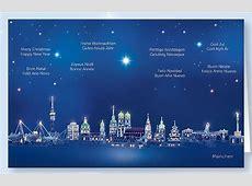 Weihnachtskarte mit internationale Grüße aus München