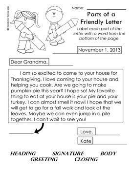 parts   friendly letter worksheet printable