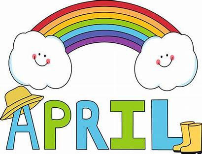 April Month Rainbow Clip Word Rain Letters