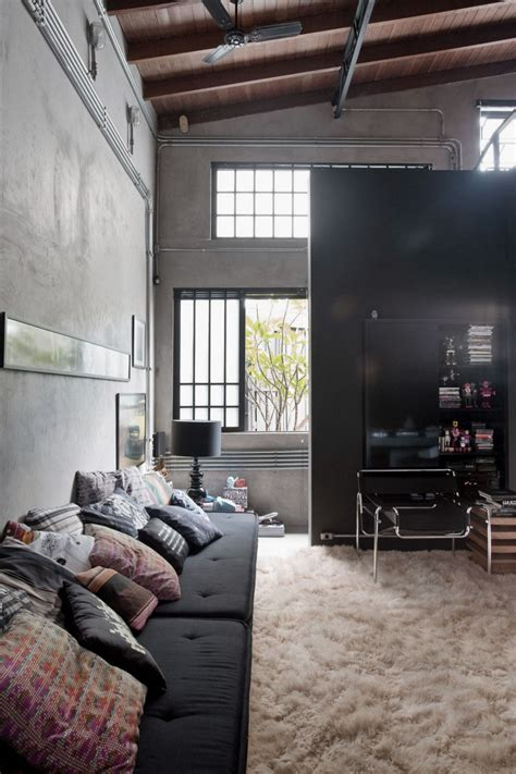 industrial home interior design industrial living area design ideas with wooden high ceiling