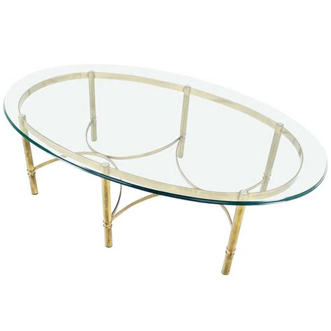 modern brass table l brass and glass oval mid century modern coffee table for