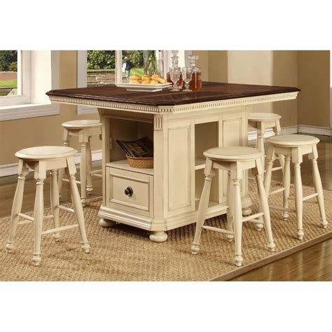 counter height kitchen island arcadia bisque 5 counter height island dining set 5930