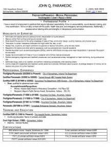 emt resume exle template paramedic resume sle free resume template professional paramedic resume format