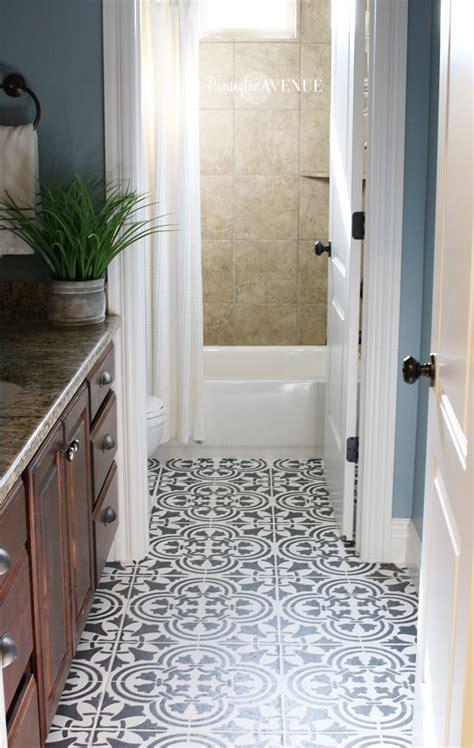 how to tile a bathroom floor how to paint stencil tile remington avenue