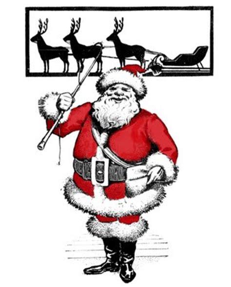 vintage clip art santa  reindeer silhouette