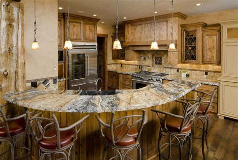 Kitchen Island Designs Rustic by Rustic Kitchen Island Design With Unique Chairs And Wooden