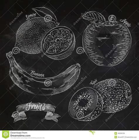 fruit lemon apple banana kiwi chalk stock vector
