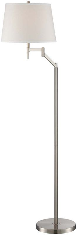 floor ls swing arm lite source ls 82138 polished steel eveleen 1 light swing arm floor l with off white fabric