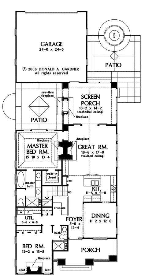 narrow lot house plans  rear garage house plans
