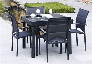 Salon De Jardin Table : salon de jardin modulo 1 table 4 fauteuils ~ Teatrodelosmanantiales.com Idées de Décoration