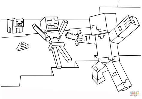 Kleurplaat Minecr by Minecraft Steve Vs Skeleton Coloring Page Free