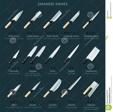 sharp kitchen knives japanese knives stock vector image 56895987