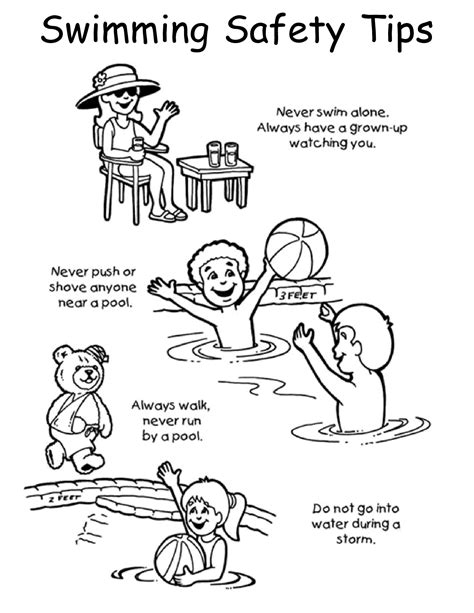 swimming safety coloring pages and print for free 863 | 3 1364