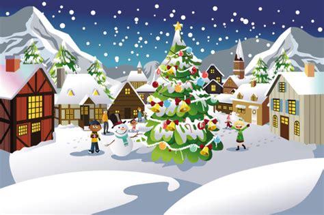 christmas scene illustrator  vector material