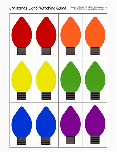 christmas light bulb template printable christmas light matching kerst lesideeën