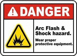 danger arc flash shock hazard label j5516 by With arc flash and shock hazard