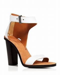 Vince Ankle Strap Sandals - Nicole City High Heel in White ...