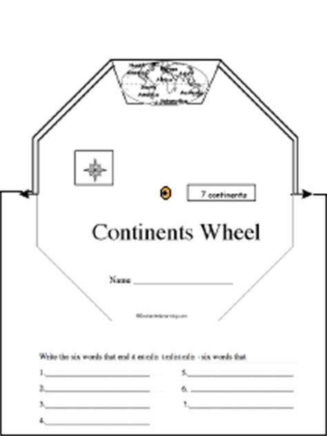 continents wheel printable worksheet enchantedlearning com