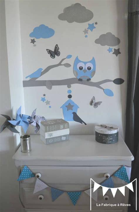 stickers bleu ciel gris argent decoration chambre enfant