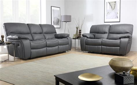 3 seater sofa with 2 recliner actions beaumont grey leather recliner sofa 3 2 seater only 1099