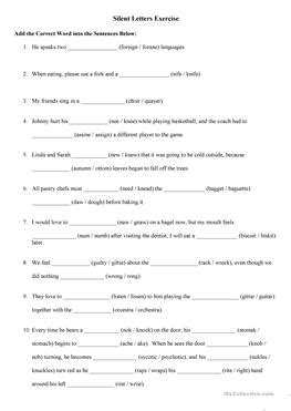 Silent Letter Worksheets Free Printable  The Large And Most Comprehensive Worksheets