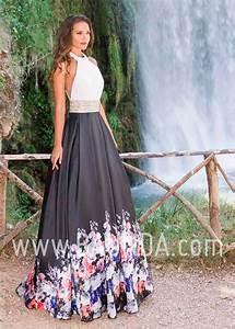 Baunda Vestido largo blanco y negro 2018 XM 4889 Baunda Madrid y tienda online