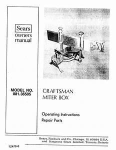 Craftsman 88136505 User Manual Miter Box Manuals And