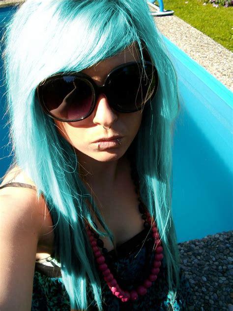 Blue Turquoise Emo Scene Hair Style For Girls German