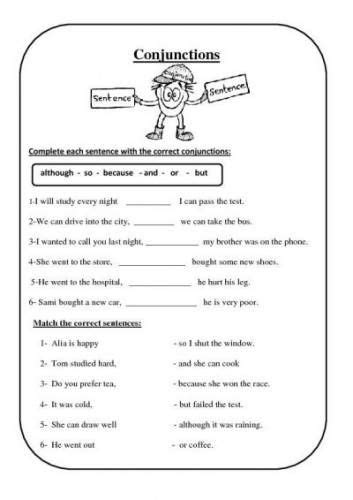 conjunction worksheet for 3rd grade subordinating
