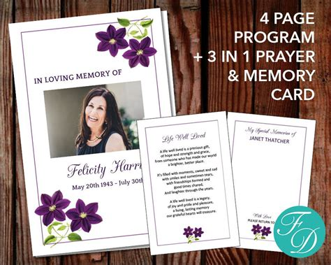 template card for funeral flowers funeral program template funeral order of service