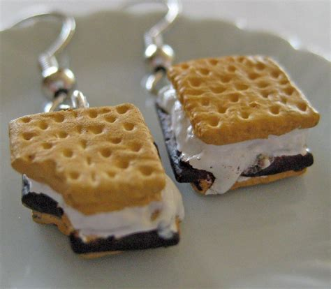 cuisine miniature smores food earrings miniature food jewelry