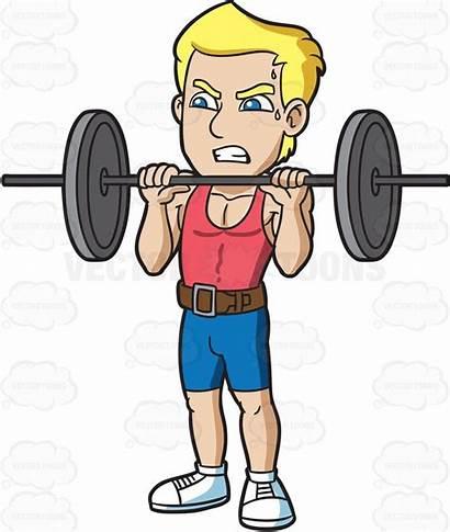Heavy Barbell Lift Clipart Trying Cartoon Muscular