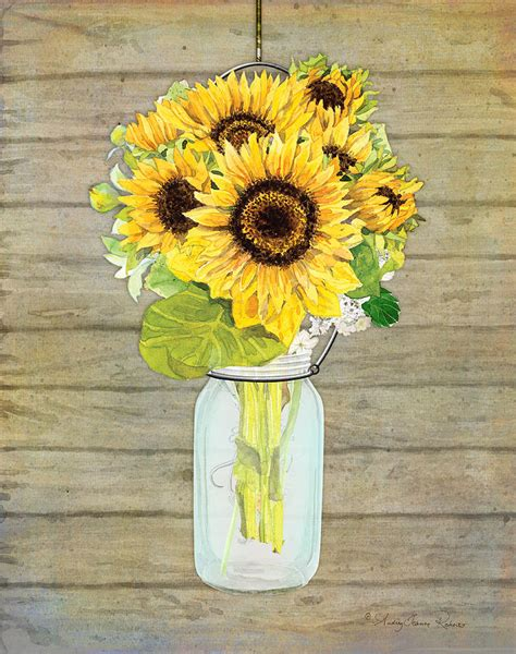 rustic country sunflowers in jar painting by jeanne