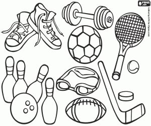 sports equipment coloring page printable game