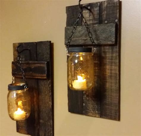 rustic wood candle holder rustic decor sconces jar