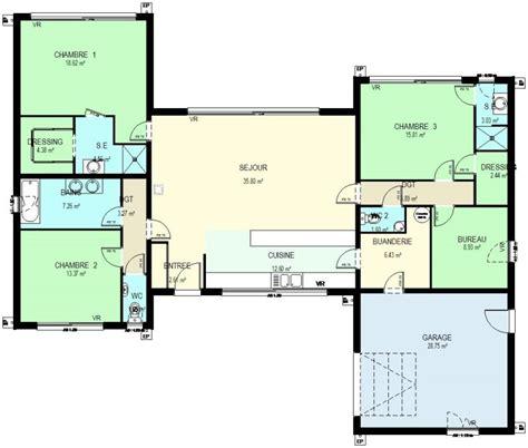 plan maison plain pied 3 chambres 1 bureau construction 86 fr gt plan maison ossature bois plain pied