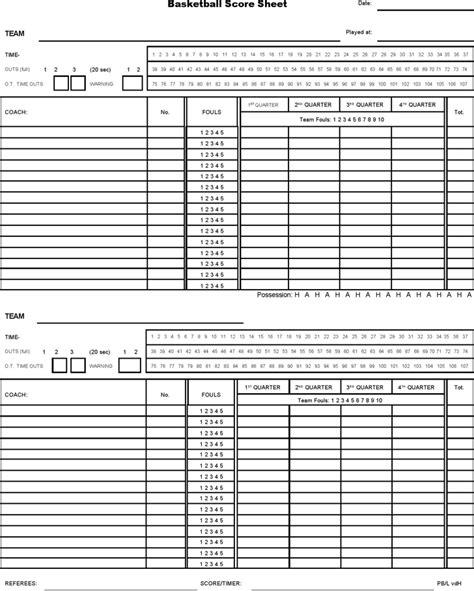 basketball score sheet templates word excel templates