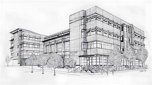 Seattle University Law School Drawing by Inger Hutton