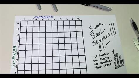super bowl squares  primer template  playing