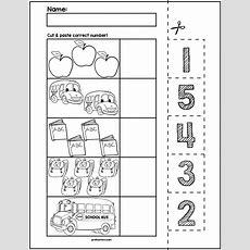 Back To School Cut & Match Worksheets  Numbers 15  Counting  Preschool Math, Preschool