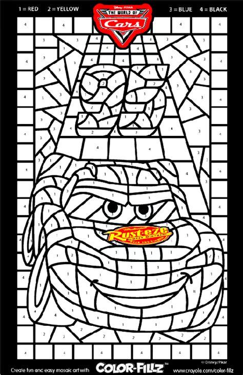 disney cars mosaic coloring page crayolacom