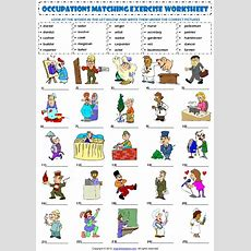 Jobs Occupations Professions Vocabulary Matching Exercise Worksheet