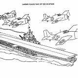 Coloring Pages Carrier Aircraft Navy Ship Plane Cvn Attack Take sketch template