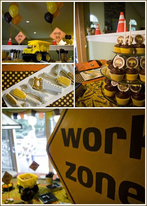 construction truck themed 1st birthday party planning ideas construction digger back hoe crane birthday party