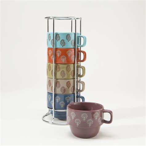 World market coffee tea mug cup jade teal blue peacock folk art gold 24k handle. Block Print Stacking Mugs, Set of 6 | World Market