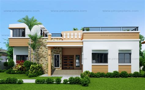 modern 1 house plans four bedroom one storey with roof deck shd 2015021