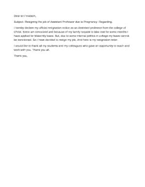 10 Pregnancy Resignation Letters PDF Word Apple Pages - Forms & Document Templates to Submit